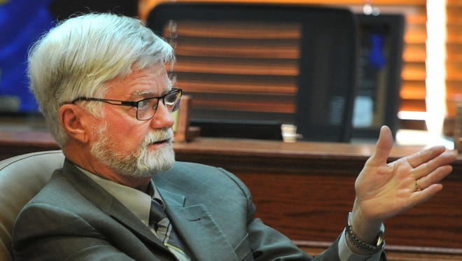 In this file photo, Wichita County Judge Woody Gossom is seen during a meeting about three years ago between the Wichita County Law Enforcement Center advisory committee and construction management firm Yates/M&F Litteken. M&F Litteken was chosen for another county project Tuesday as they were named the CMAR for an elevator renovation at the courthouse.