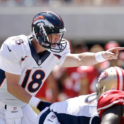 SANTA CLARA, CA - AUGUST 17:  Quarterback Peyton Manning #18 of the Denver Broncos in action against the San Francisco 49ers during a preseason game at Levi's Stadium on August 17, 2014 in Santa Clara, California.