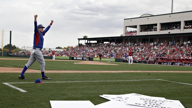 Built in 1969, Tempe Diablo is one of the most centrally located parks in the Cactus League. Pictured is Will Ferrell coaching third base for the Cubs at Tempe Diablo Stadium during a game between the Cubs and the Angels in Tempe on March 12, 2015.