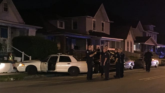 An IMPD officer was injured in a crash during a pursuit in Fountain Square Wednesday, Aug. 9, 2017, police say.