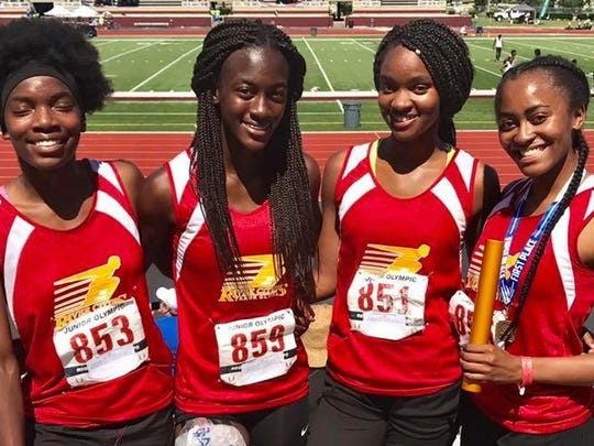 The River Cities Track Club relay team of Kayla Harrison, Dreunna Washington, Alexus Harris and Kamrin Hooks won the 4x400m event recently at the USTAF Regionals.