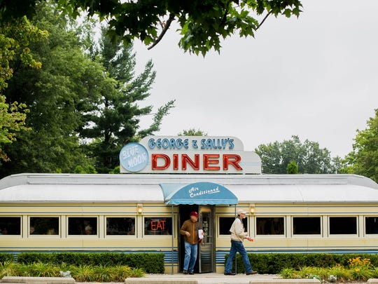 The working 1941 Blue Moon Diner at the Gilmore Car