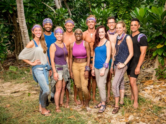 Naviti Tribe members (Back Row L-R: Wendell Holland, Chris Noble, Sebastian Noel, Bradley Kleihege, Domenic Abbate, Front Row L-R: Morgan Ricke, Angela Perkins, Desiree Afuye, Chelsea Townsend, Kellyn Bechtold) will be 10 of the 20 castaways competing on SURVIVOR this season.