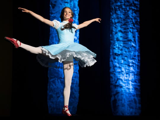 """Miss Jackson's Outstanding Teen Mary Humphrey dances to """"Somewhere over the Rainbow,"""" on Saturday, March 10, 2018, during the Miss Tennessee Outstanding Teen pageant at the Carl Perkins Civic Center in Jackson."""