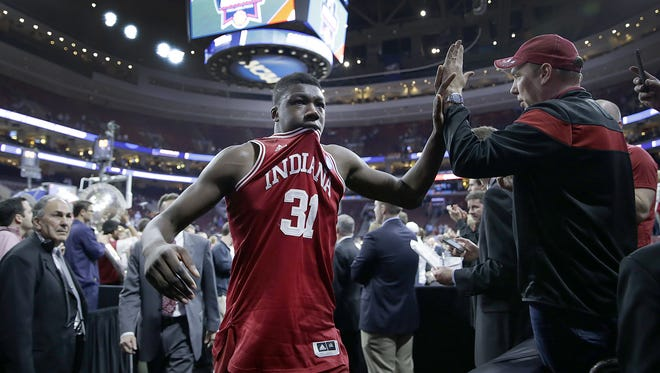 Indiana Hoosiers center Thomas Bryant (31) walks off the court high-riving fans following their loss in their semifinal game in the East regional of the NCAA Tournament Friday, Mar 25, 2016, evening at Wells Fargo Center in Philadelphia PA. The North Carolina Tar Heels defeated the Indiana Hoosiers 101-86.
