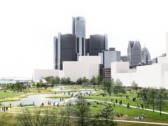 Detroit riverfront new vision