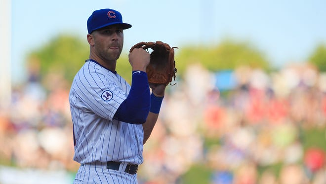 Chicago Cubs infielder Mike Olt (20) during a spring training game against the Los Angeles Angels at Sloan Park.