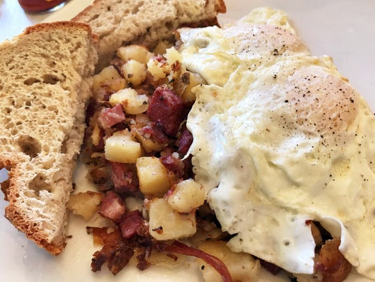 Corned beef hash features slow-roasted corned beef