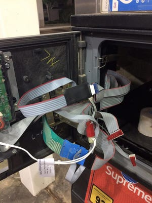 A skimmer was found inside a gas pump at the Kangaroo Express on Airport Road in Pearl.