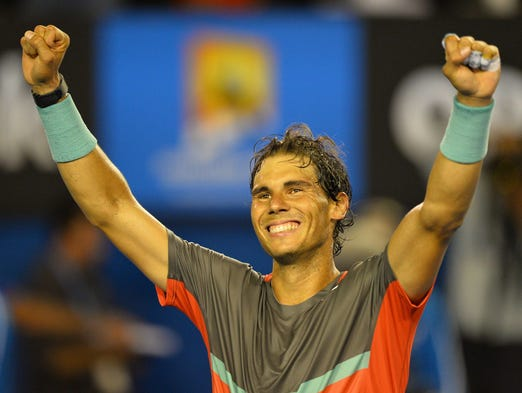 Rafael Nadal celebrates his 7-6 (7-4), 6-3, 6-3 victory against Roger Federer in the Australian Open semifinals on Friday.