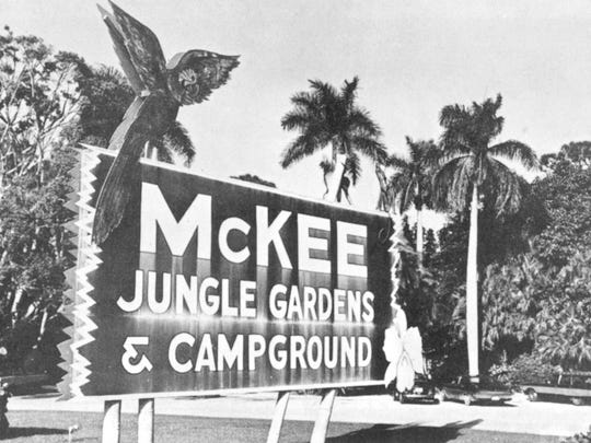 Sign for McKee Jungle Gardens & Campground. As of 1975,