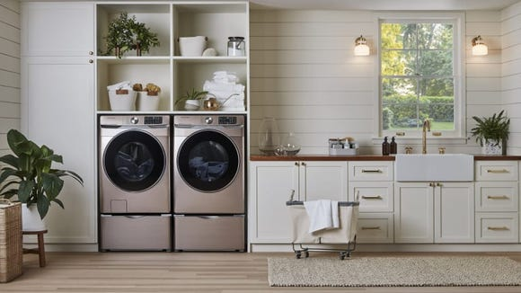 This front-loading washer has a sanitizing cycle to handle tough germs and bacteria.