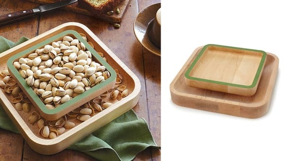 The pistachio pedestal is a must-have for entertainers who enjoy setting out shelled nuts.