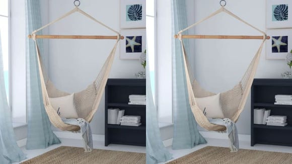 I can already see myself sleeping in this hammock with a cat perched to the side, ready to pounce.