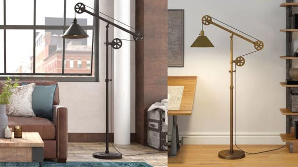 This industrial floor lamp looks like it belongs in Benjamin Franklin's study.