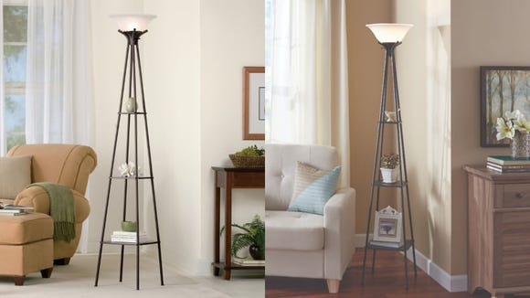 Walmart's brass floor lamp makes a great addition to small rooms that need extra storage.