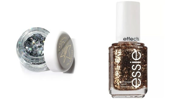 Nails, hair, and eyes can all be topped with glitter.