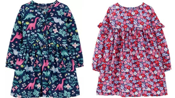 This adorable dress comes in two designs: dinosaur and flowers.