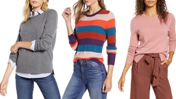 This cashmere sweater comes in 10 styles.