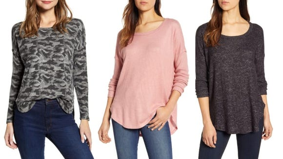 This cute sweater pairs well with high-waisted jeans.