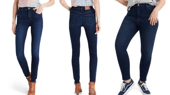 High-waisted jeans pair well with tucked shirts.