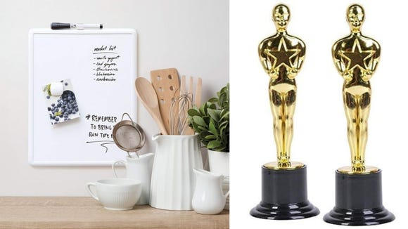 After you use it to fill in your Oscars bracket, you can hang this whiteboard artfully in your kitchen and use it for everyday things like grocery lists.