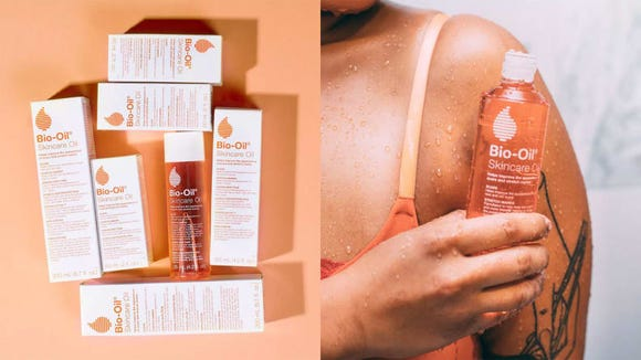 To moisturize your skin, apply the Bio-Oil Multiuse Skincare Oil.