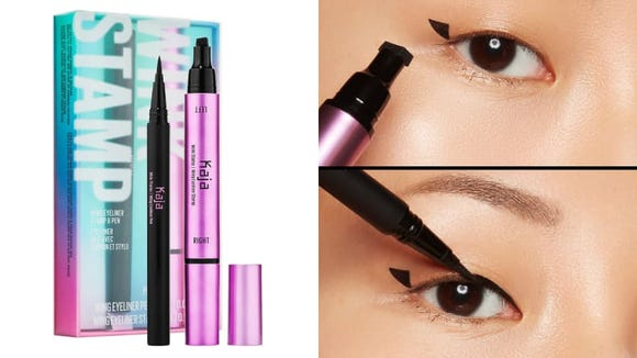 Winged eyeliner has never been easier with the Kaja Eyeliner Stamp and Pen.
