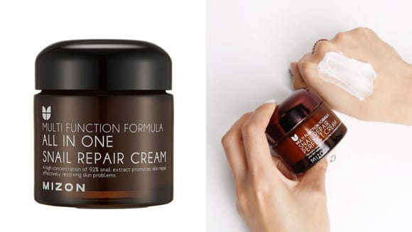 The Mizon All In One Snail Repair Cream uses snail mucus to improve your skin.