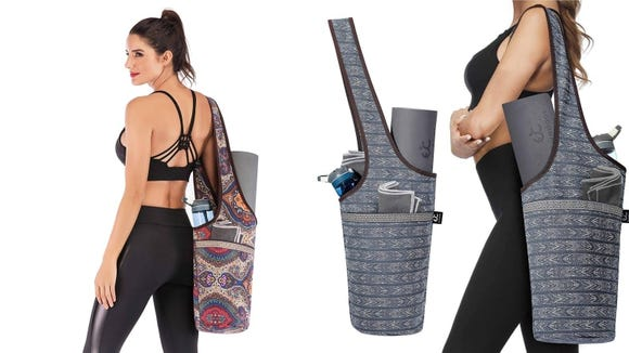 Carrying a mat, towel, and water bottle is a lot easier with this bag.