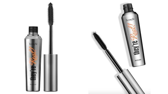Give your lashes a fanned out effect with the Benefit Cosmetics They're Real Lengthening Mascara.