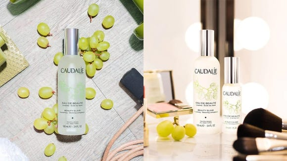 Spritz your skin with the Caudalie Beauty Elixir when you need a pick-me-up.