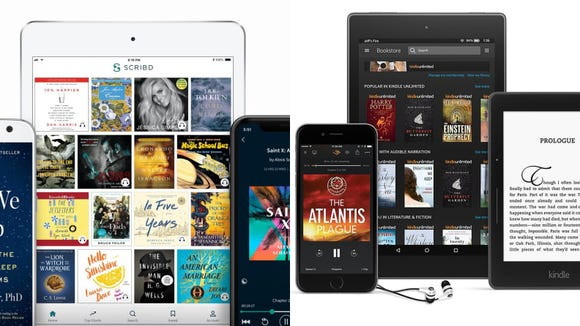 Scribd and Kindle Unlimited allows access to thousands of books with a click.