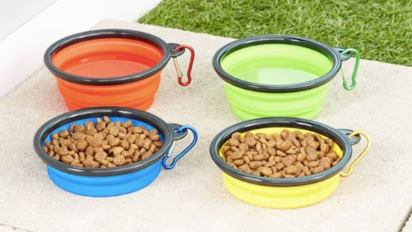 These bowls collapse to different levels, so they're easy to access for both dogs and kittens