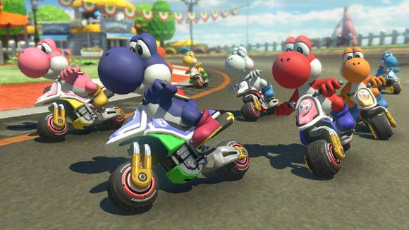 Race against your friends in Mario Kart 8 Deluxe, which allows online play.