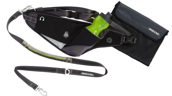 This leash attaches to your waist to leave your hands unencumbered.