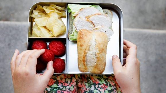 This bento-style box makes lunch fun.