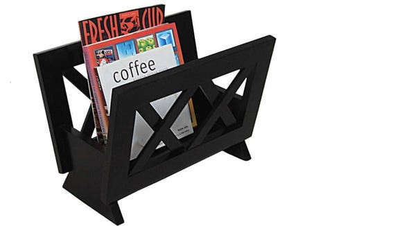 This magazine rack can turn your clutter into an attractive display