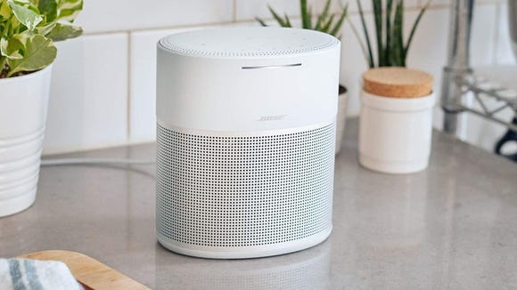 This smart speaker is sleek and powerful.