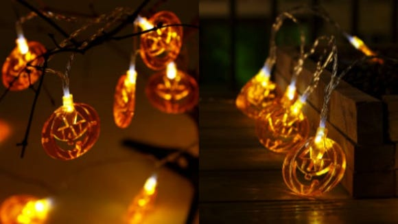 These pumpkin lights look great both inside and outside.