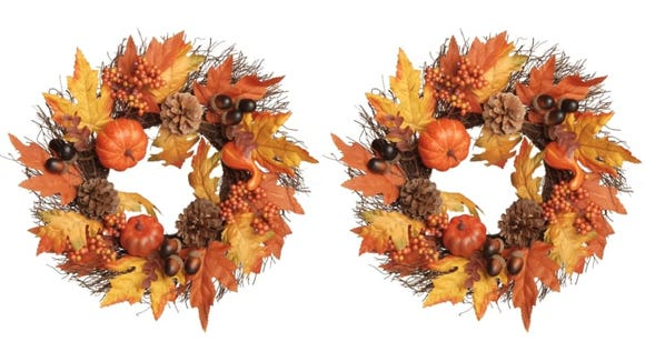 Get this festive faux wreath for your front door.