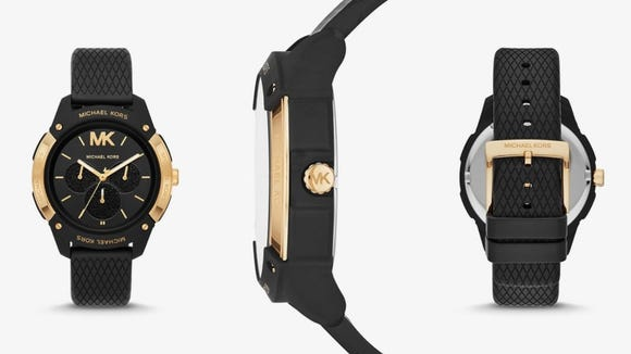A bold gold-tone watch to accentuate your look.