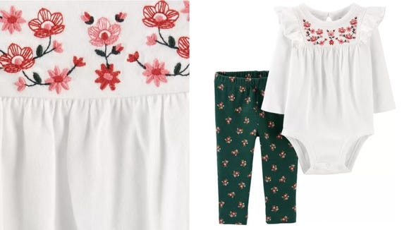 The floral embroidery on this outfit is beyond adorable.