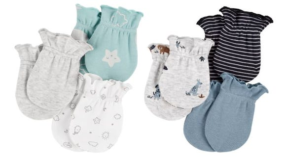 These adorable mittens feature stretchy bands to keep them safely on baby's hands.
