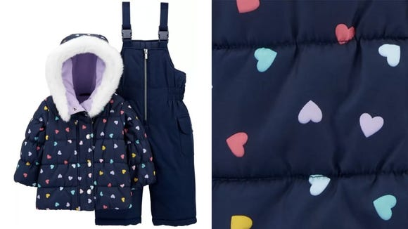 This soft snow suit will keep little ones warm while sledding or sculpting their first snowman.