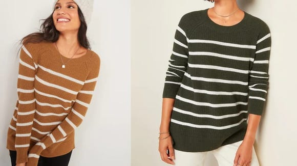 This lightweight striped sweater is ideal for layering.