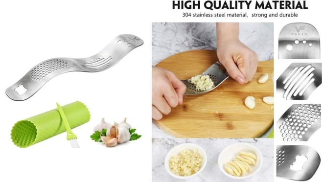 Peel, mince, or slice garlic with this handy tool.