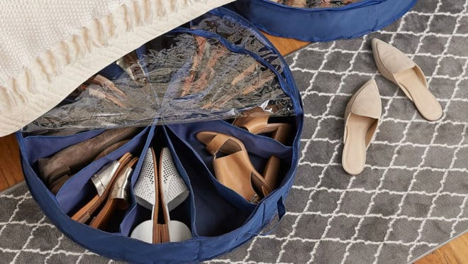 This shoe pinwheel organizer is a great option for under-the-bed storage.
