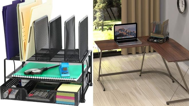 Cluttered desk? Not with this mesh desk organizer.