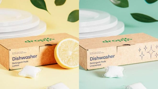 Choose between unscented or a fresh lemon aroma for your Dropps Dishwasher Detergent.
